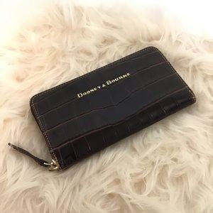 Dooney croco embossed leather large zip wallet